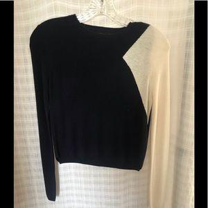 Zara navy and cream cropped sweater